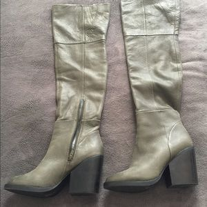 Aldo Green Leather Over the Knee Boot
